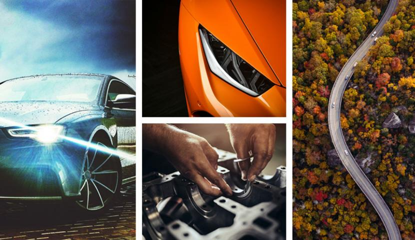 A collage of car related images