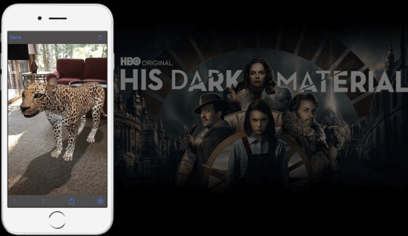 HBO dark material poster with phone AR scan