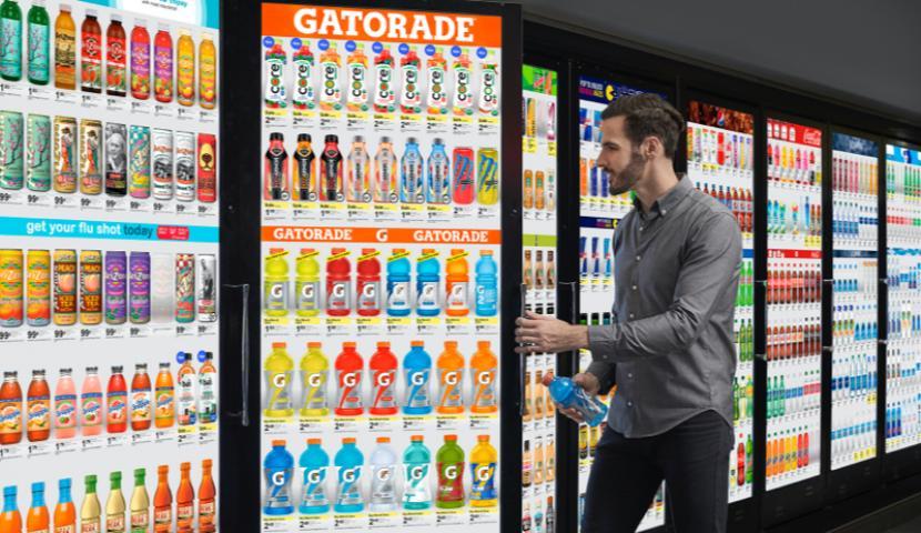 Man choosing Gatorade drink.