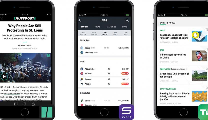 Three smartphones with the HuffPost, Yahoo Sports, and TechCrunch apps open on them.