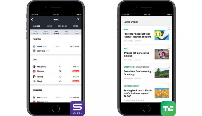 Three smartphones with Yahoo Sports, and TechCrunch apps open on them.